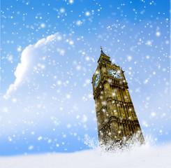 London, Big Ben mit Schneeflocken