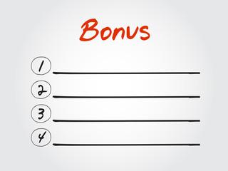 Blank Bonus list, vector concept background