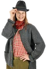 Frau in bayerischer Tracht zum Oktoberfest