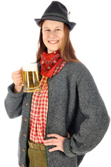 Frau in bayerischer Tracht trinkt Maß Bier