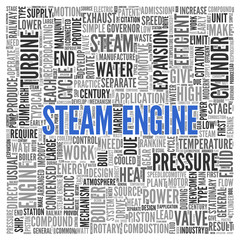 STEAM ENGINE Concept in Word Tag Cloud Design
