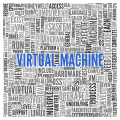 VIRTUAL MACHINE Concept in Word Tag Cloud Design