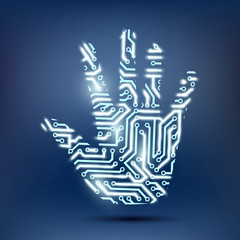 human hand in the form of a computer chip