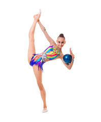 Girl is engaged in art gymnastics isolated