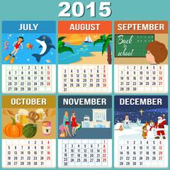 Calendar 2015  Six Months of New Year -set 2