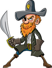 Cartoon pirate with a sabre