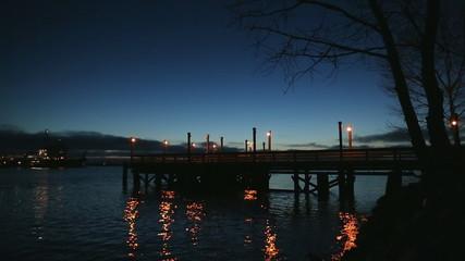Fishing Pier Twilight, Ship Passing, Fraser River
