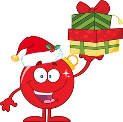 Happy Red Christmas Ball Character Holding Up A Stack Of Gifts