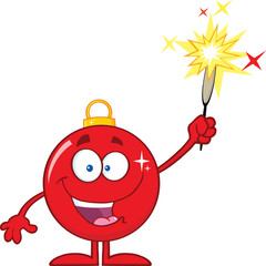 Smiling Red Christmas Ball Cartoon Character Giving A Fireworks