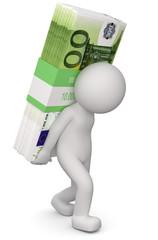 3d Männchen Geldnot finanzielle Belastung