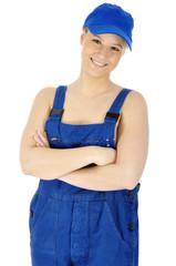 Handwerker in Latzhose oder Blaumann