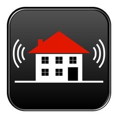 Schwarzer Button: Vernetztes Haus