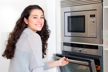 Happy newbie cook woman