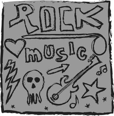 doodle rock music design elements
