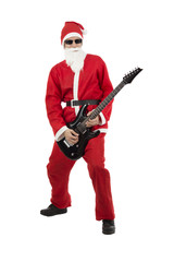 Santa Claus with a black electric guitar
