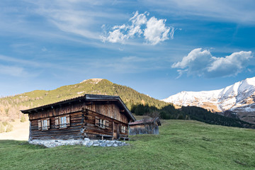old rural wooden cabin in fall with alp mountains in austria