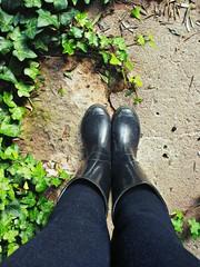 Stivali di gomma in giardino