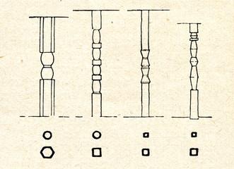 Ornamented wooden pillars of latvian log buildings