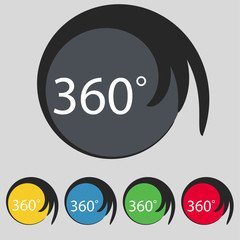 Angle 360 degrees sign icon. Geometry math symbol. Full rotation