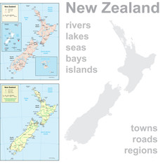 Detailed map of New Zealand.
