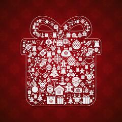 Vintage christmas greeting card, icons and symbols