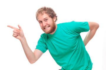 Happy bearded man pointing