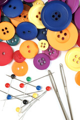 Sewing kit and colorful buttons