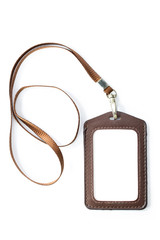 Leather name Tag with blown neck band ribbon isolated white back