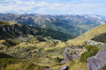 Autumn mountains from the pass Col d'Ayous