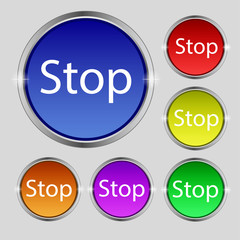 Traffic stop sign icon. Caution symbol. Set of colored buttons.