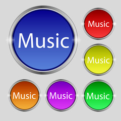 music sign icon. Karaoke symbol. Set of colored buttons. Vector