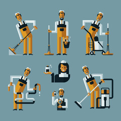 vacuum cleaner worker icons