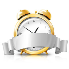 Golden alarm clock with silver white banner -Sale Time- . Vector