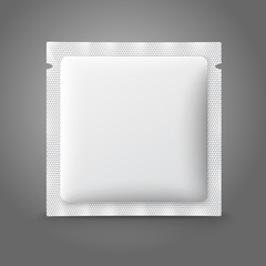 Blank white plastic sachet for medicine, condoms, drugs, coffee