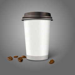 Blank realistic vector paper coffee cup with beans, isolated on