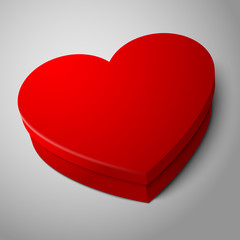 Vector realistic blank bright red heart shape box isolated on
