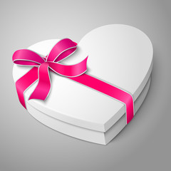 Vector realistic blank white heart shape box with pink ribbon