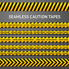 Set of black and yellow seamless caution tapes with different
