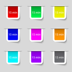 fifteen minutes sign icon. Set of colored buttons. Vector