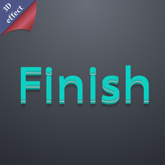Finish icon symbol. 3D style. Trendy, modern design with space