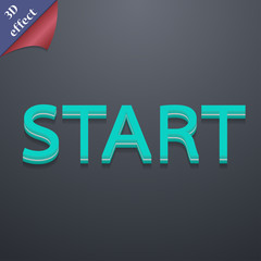 Start icon symbol. 3D style. Trendy, modern design with space