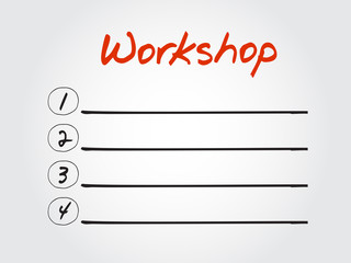 Blank Workshop list, vector concept background