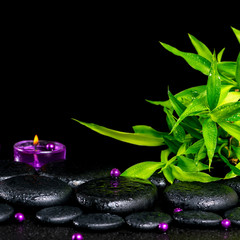 beautiful spa concept of zen basalt stones with drops, lilac can