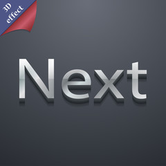 Next icon symbol. 3D style. Trendy, modern design with space for
