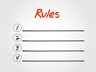 Blank Rules list, vector concept background