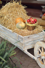 wooden cart with stack of hay, pumpkins and a basket with red ap