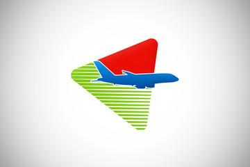 airplane fly travel logo