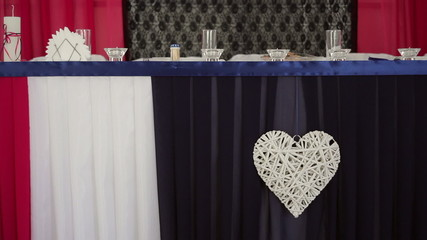 Decorated and served bride and groom's wedding table