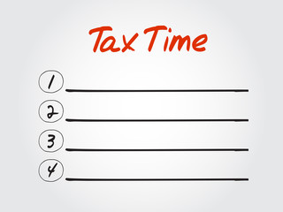 Blank Tax Time list, vector concept background