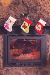 Socks in chimney on Christmas